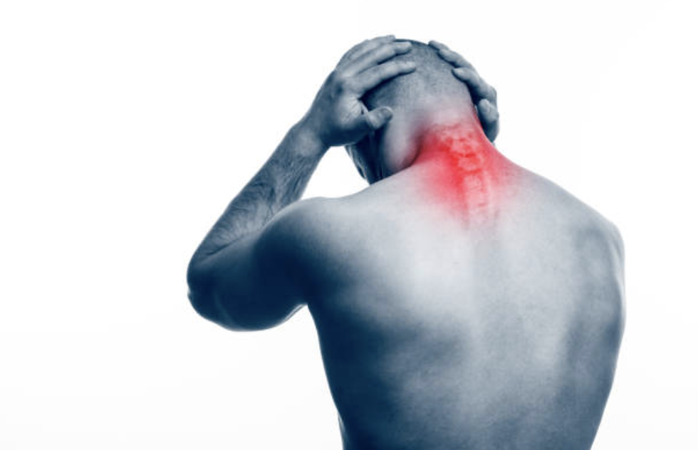 chiropractic image with red highlight on back of neck Leander TX